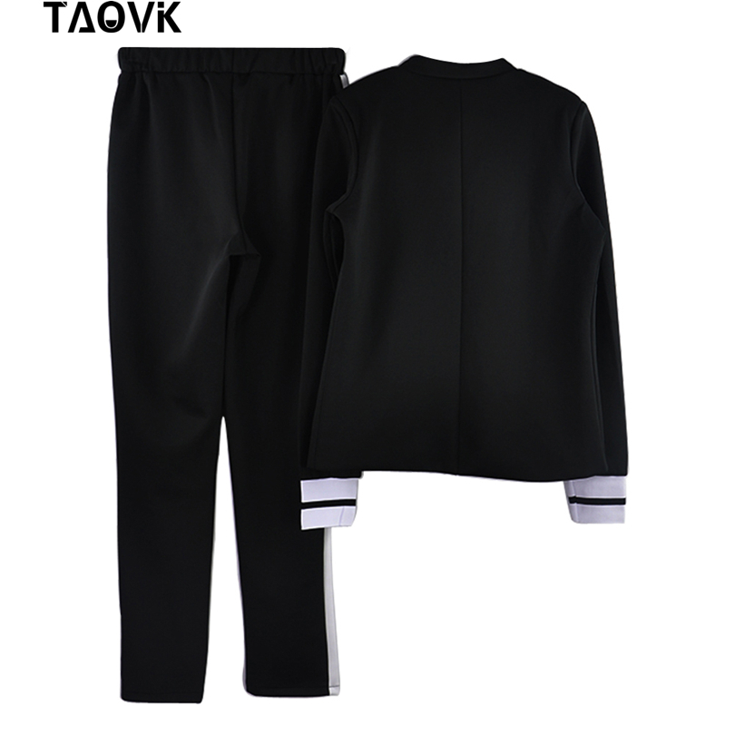 Image 3 - TAOVK women 2 two Piece Set suits Long sleeve stand up collar buttonless Black and white tracksuit-in Women's Sets from Women's Clothing