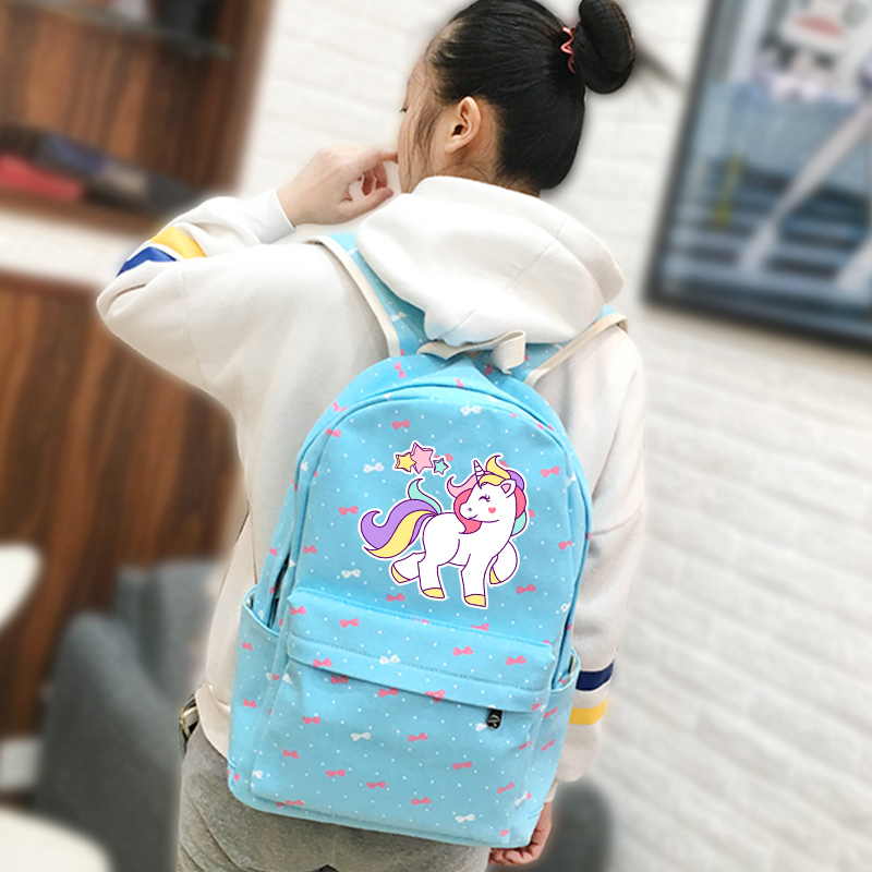 8b0076013810 Aliexpress.com   Buy 2018 Candy Color Women Backpack Kawaii Unicorn Rainbow  Printing Backpack Canvas School Bags for Teenage Girls Mochila Feminina  from ...