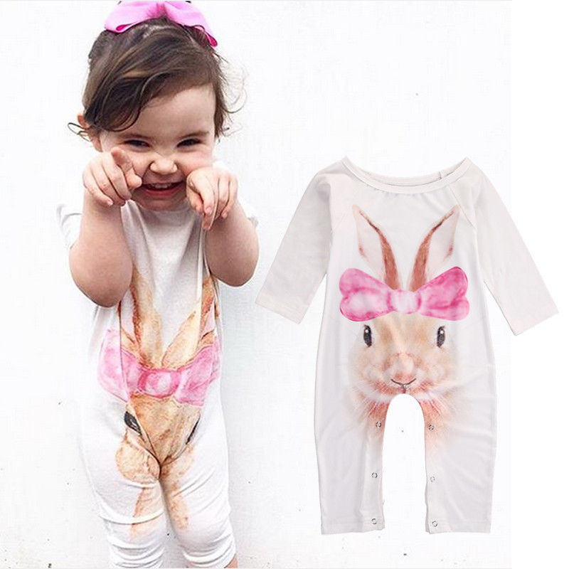 0-24M Newborn Infant Baby Girls Romper Jumpsuit Clothes Long Sleeve Cotton Cute Rabbit Outfits Clothing baby romper sets for girls newborn infant bebe clothes toddler children clothes cotton girls jumpsuit clothes suit for 3 24m