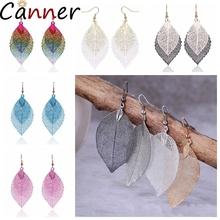 CANNER Bohemian Natural Leaf Earrings Vintage Drop Colorful Long For Women Pendientes Mujer Jewelry Gifts F40