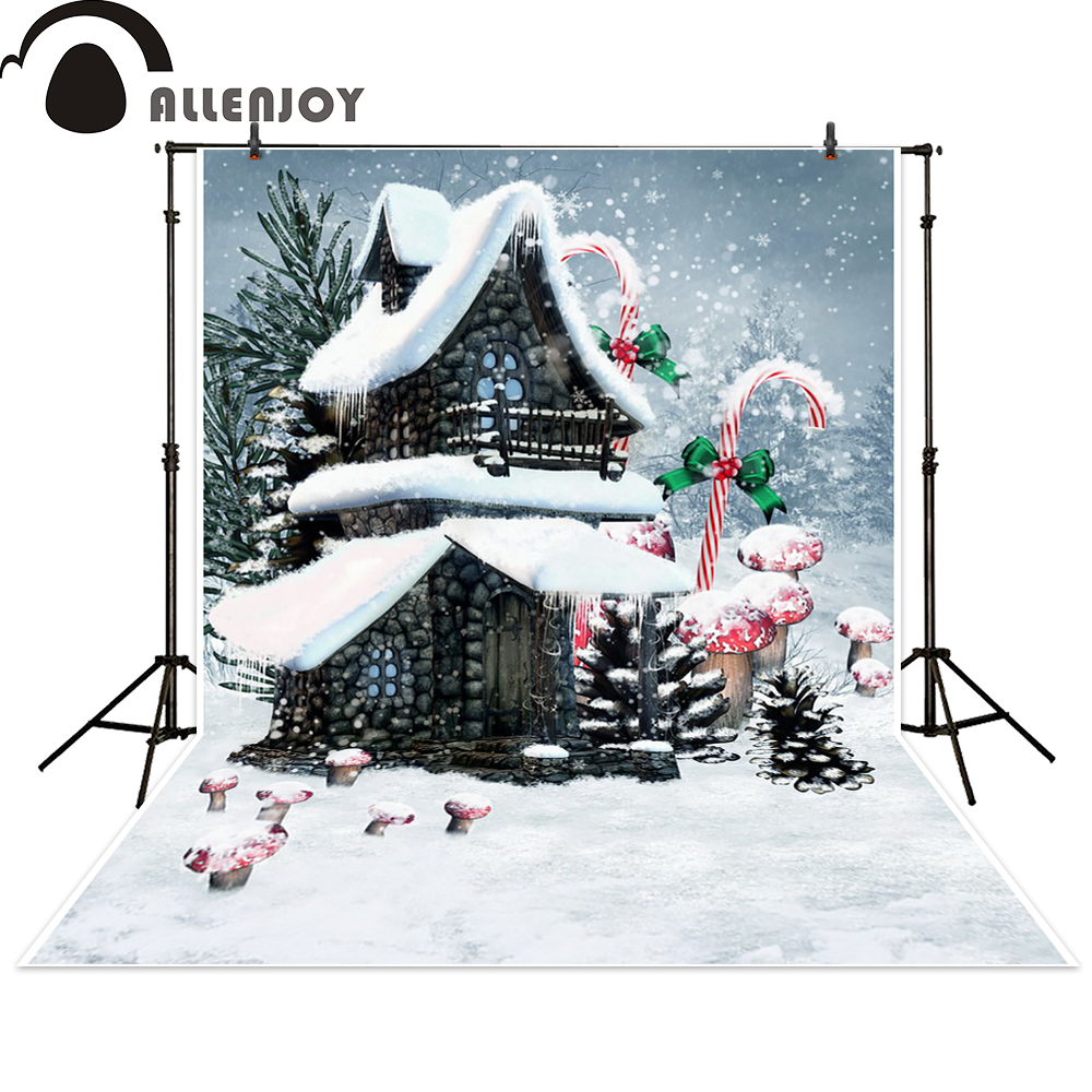 Allenjoy photography backdrop Christmas stone house lollipop photo studio props photobooth photocall fantasy background vikram seth a suitable boy