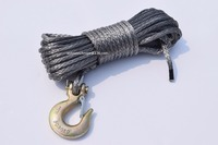 Grey 1 4 50ft Winch Cable Hook Replacement Synthetic Rope For Winch Boat Winch Rope Off