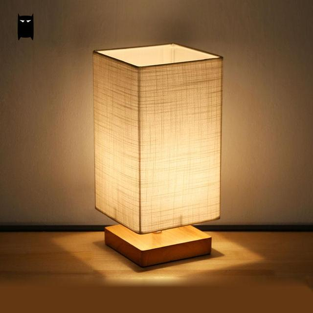 Madeira Sombra Tecido Lâmpada de Mesa Luminária Moderna Nordic Estilo Japonês Tatami Quarto Cabeceira Abajur mesa de Cabeceira Luz para Restaurante