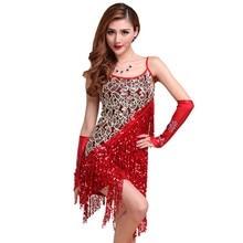 Sexy Vestidos Solid Party Dresses Large Size Dress Women Sequins Fringes Tassel Skirt Ladies Latin Tango Ballroom Salsa Dance