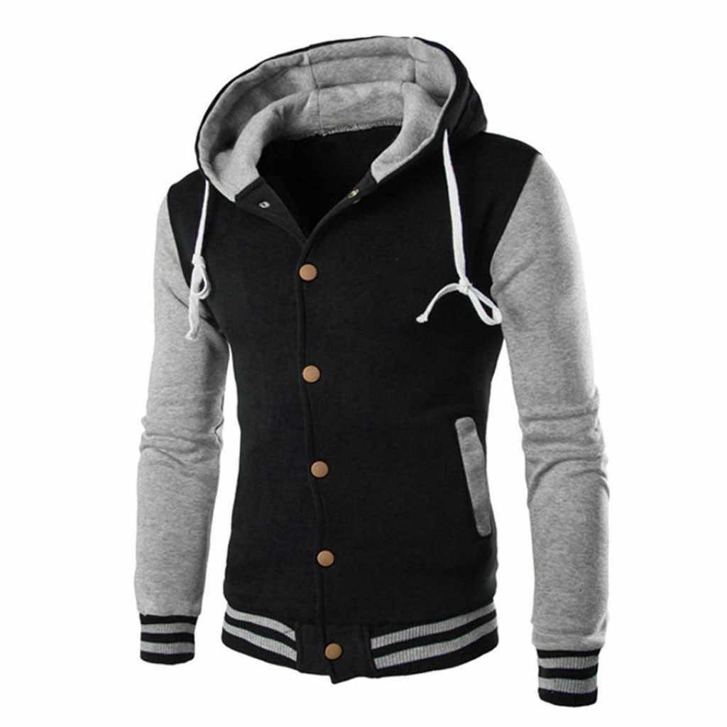 Для мужчин свитшот, куртка, кофта с длинным рукавом шить свитшот на пуговицах верхняя одежда зима тонкий толстовка с капюшоном Теплый