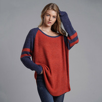 Knitted Patchwork Long Sweater Women 2019 Oversized Pullovers Striped Autumn Winter Loose Sweaters Korean Style Jumper