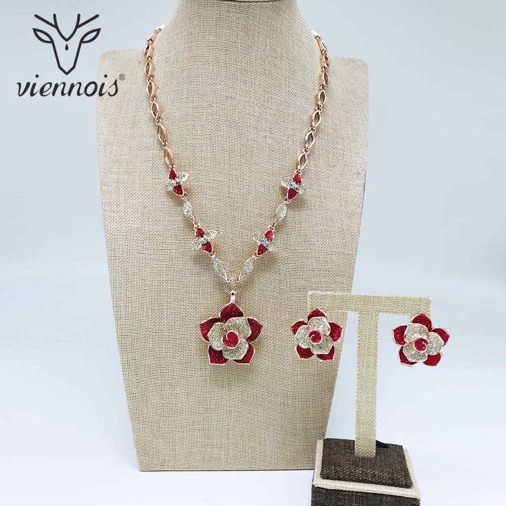 Viennois New Rose Gold Color Necklace Set For Women Red Flower Rhinestone Stud Earrings Party Jewelry Set 2019