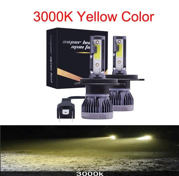 Мини H4 H7 светодиодный фар автомобиля Kit 6000K 3000K 8000K 72W фары для 12000LM H1 H11 9005 HB3 9006 HB4 H8 6000 К лампочки Автомобильные аксессуары - Испускаемый цвет: 3000K