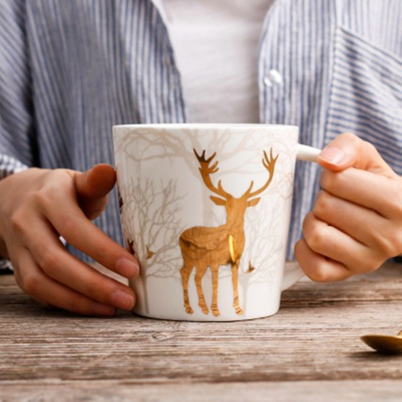 Europe Style Milu Deer Cups Large Capacity Mug 650ml with Lid and Spoon Ceramic Mugs Coffee Cup Milk Tea Cup Christmas Gifts