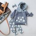 Осень Детская одежда удобная Полосатый топ с длинными рукавами + брюки с капюшоном детей наборы для мальчика девушки
