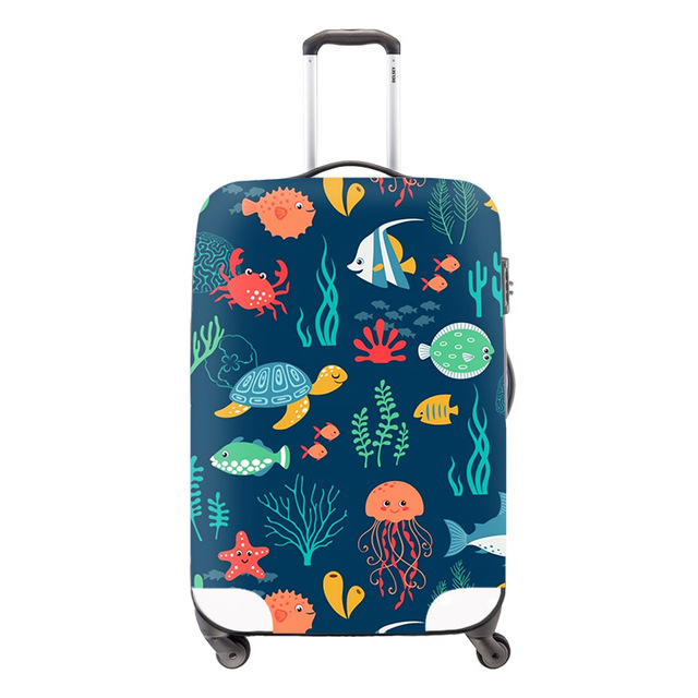 Fashion Waterproof Spandex Geometric Printing Travel Luggage Cover Elastic 18-30 inch Anti-dust Suitcase Cover with Zipper Youth