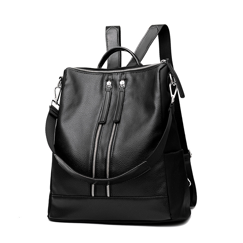 Women pack a new wave of wild soft leather double shoulder style college style