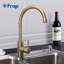 Frap Neue Ankunft Retro Stil Bronze Gebürstet Küchenarmatur Kalt-und Warmwasser Mixer Einhand 360 Grad-umdrehung F4052-4