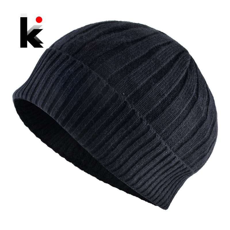 Men's Skullies Beanies Autumn Knitted Wool Hats Winter Soft Knitting Beanie Cap Men Solid Color Knit Gorras Bonnet Caps Boys Hat