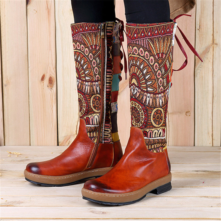 Women winter Boots Genuine cow Leather Comfortable quality soft Shoes handmade Bohemian warm long boots over