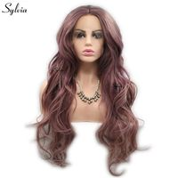 Sylvia Metallic Purple Rose Brown Color Natural Wave Wigs Synthetic Wig Lace Front Wigs Heat Resistant Fiber Hair Miexed Color