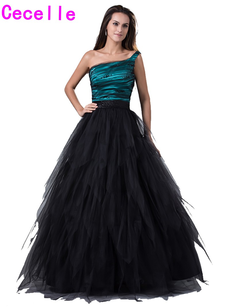 Real Elegant Black Ball Gown Tulle Prom Dresses 2017 New One ...