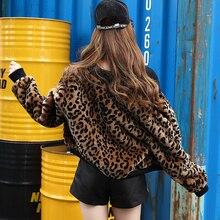 Осенне-зимняя женская меховая леопардовая куртка Haining, меховое короткое пальто, женская одежда