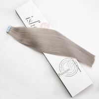 Isheeny 18 # серый лента в Remy Пряди человеческих волос для наращивания дважды обращается волосы прямые Невидимый уток кожи PU ленты на наращивани