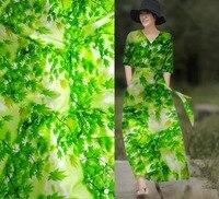 Tela para tapizar 97% pure silk Satin Fabric designer 19 moomin lace material sicily 3d print Green flowers fabrics for dresses