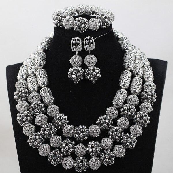 Подвески Серебряные Хрустальные шарики из бисера комплект ювелирных изделий индийское ожерелье для невесты Серьги Браслет набор все сереб