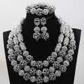 Charms Silver Crystal Bead Balls Jewelry Set Indian Bridal Necklace Earrings Bracelet Set All Silver Jewelry Set WD997