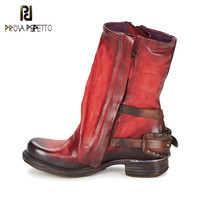 Prova Perfetto 2018 High Quality Natural Leather Thick Heel Mid caf Boots Side Zipper with Buckle Strap Knight Boots Retro Shoes