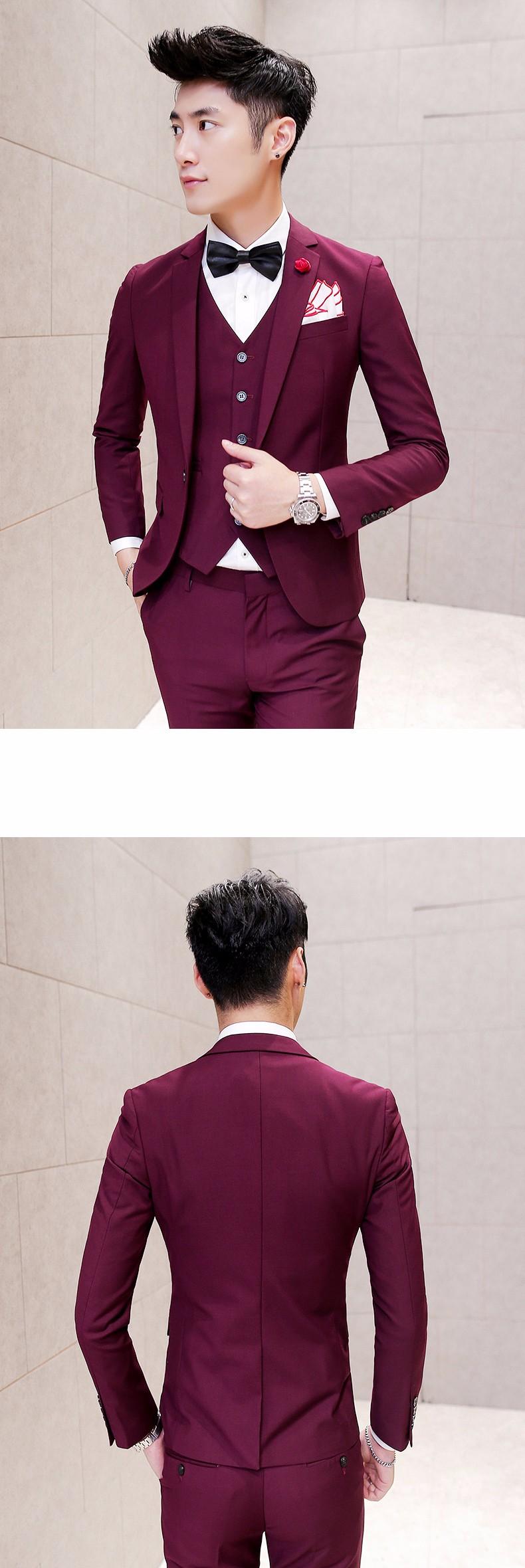 burgundy designer prom suits