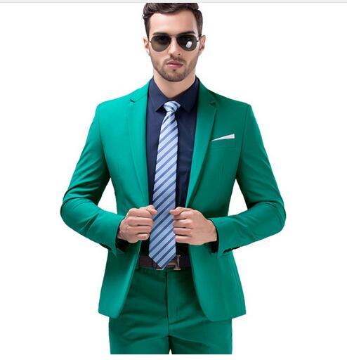 Men Green Party Suit Slim Fit New Fashion Purple and White Wedding Suit Men (Jacket + pants + )