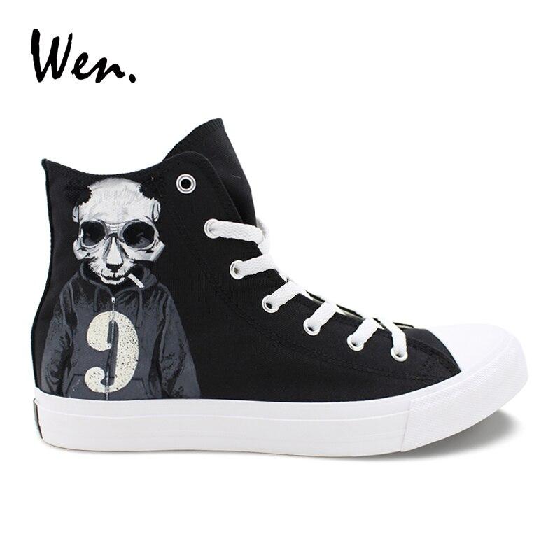 Wen toile noire hommes chaussures haut Design Panda crâne fumée chandail numéros 7 et 9 chaussures peintes à la main femmes baskets décontractées