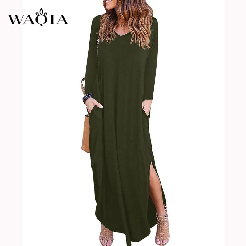 Waqia/2018 женское летнее платье большого размера, хлопковое длинное платье с длинным рукавом и v-образным вырезом, женское Свободное длинное пл...