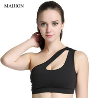 MAIJION Sexy Women One Shoulder Hollow Out Bra Crop Top Breathable Soft Workout Top With Padded