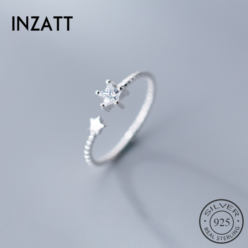 INZATT Real 925 Sterling Silver Zircon Star Ring For Lovely Girl Wedding Party Fine Jewelry Opening Ring Romantic Gift 2019