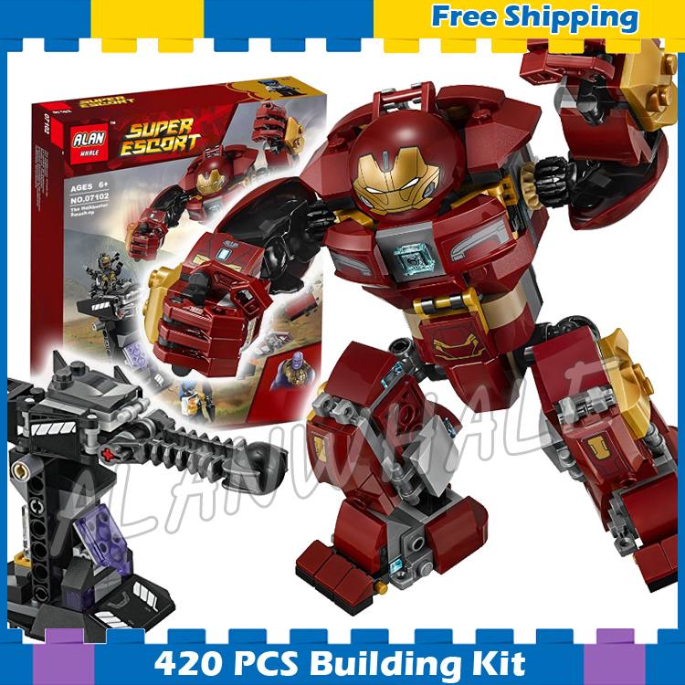 420pcs Super Heroes Black Panther the Hulkbuster Smash-up 07102 Model Building Blocks Gifts sets Compatible With lego