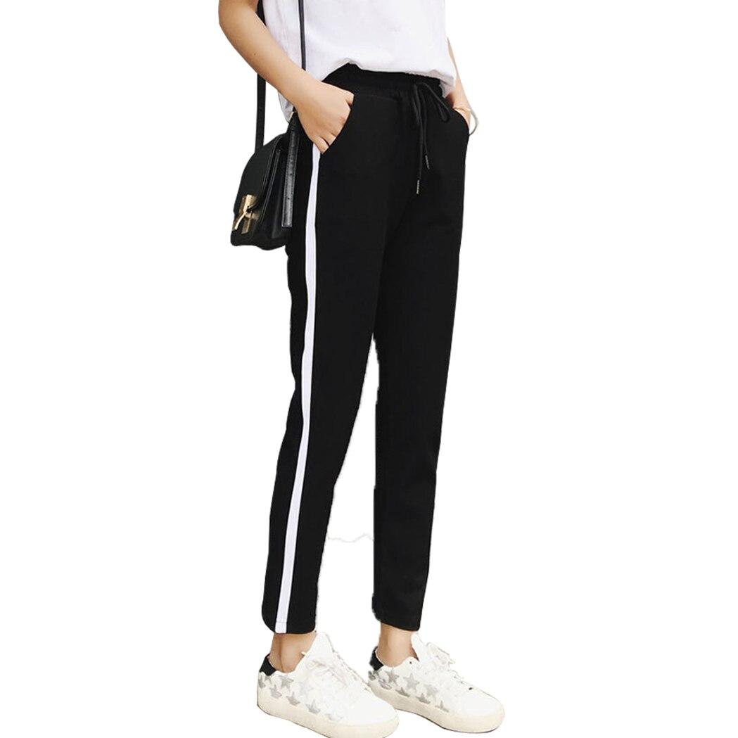 2018 Été Nouvelle Marque Survêtement décontracté Sarouel Femmes Lâche Pantalon Noir Rayé Côté Pantalons de Survêtement Femmes Sport de Course Pantalon