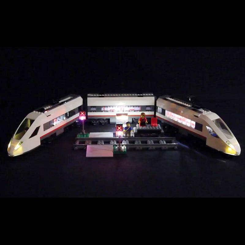 Lego 60051 Led Light Cities High-speed passenger Train Toys Brickkits( light with Battery box)