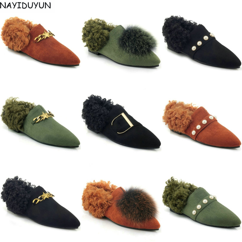 NAYIDUYUN    Big Fur Women Faux Suede Flats Heel Ankle Boots Pointed Toe Slip On Winter Oxfords Shallow Party Casual Warm Shoes nayiduyun women genuine leather wedge high heel pumps platform creepers round toe slip on casual shoes boots wedge sneakers