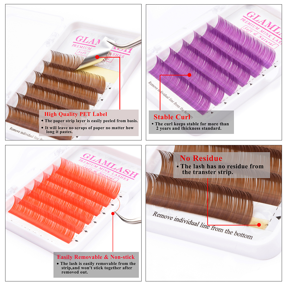 GLAMLASH 2 Cases Lot natural Blue Brown Green Red Color Eyelash Extension Premium Individual Faux Mink Soft False Lashes cilios in False Eyelashes from Beauty Health