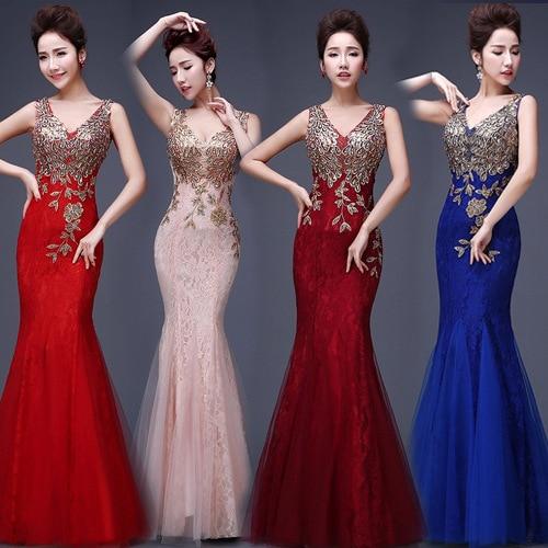 30% de Desconto Sexy Illusion Backless Red Mermaid Lace Evening Vestido Longo Baratos Apliques Bordados Zipper Vestido Vestido de Festa
