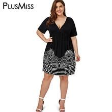 Plus Size 5XL Low Cut Empire Waist Print A Line Dress