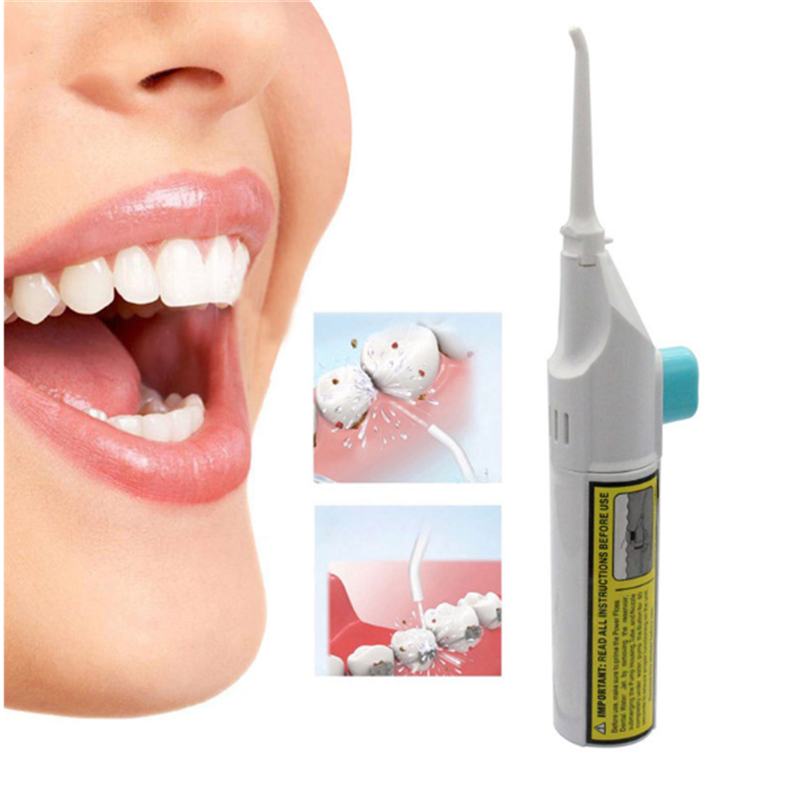 New 1 pcs Portable Power Floss Dental Water Jet Tooth Pick No Batteries Dental Cleaning Whitening Cleaner Kit Beauty Makeup Sets