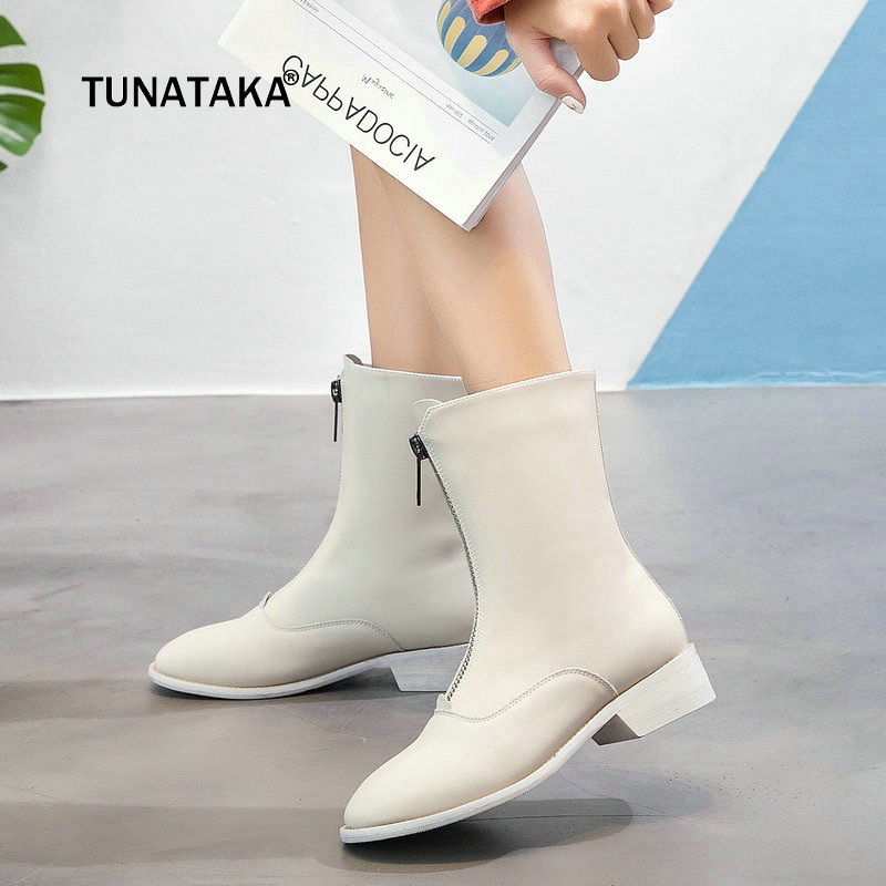 New Spring Autumn Women High Quality Comfort Low Heel Ankle Boots Fashion Zipper Round Toe Shoes Black White Rose Red 2016 new arrive ladies ankle boots fashion elegant style elastic round toe black red spring autumn women s shoes