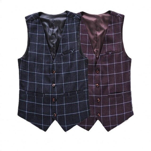 Designer Brand Plaid Suit Vest Men V Collar Dress Slim Fit Waistcoat Male Blazer Wedding Vests Plus 4XL 5XL 6XL Formal Clothes
