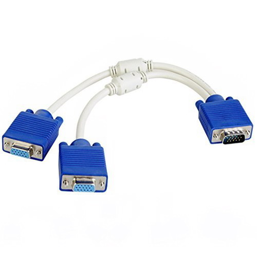 VGA 15 Pin PC SVGA Male to 2 Female Monitor Dual Double Y Adapter Splitter Cable