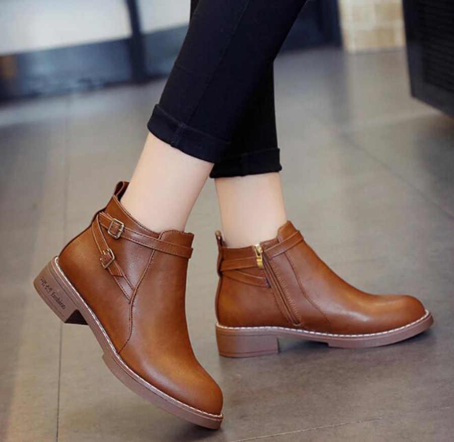 Jesienne i zimowe nowe buty Martin kobiece boczny zamek błyskawiczny podwójny pas klamra krótkie buty damskie okrągłe Head3CM buty damskie na niskim obcasie