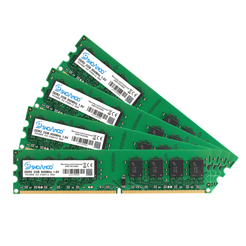 Купить с кэшбэком SNOAMOO New DDR2 (2pcsX2GB) Ram 2GB 800MHz PC2-6400U 1.8V CL6 240Pin non-ECC Desktop Memory Dimm Warranty