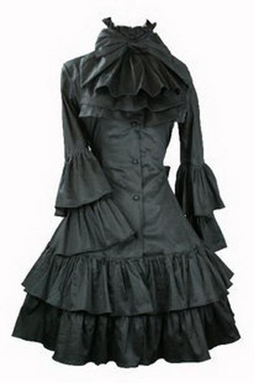 Podprsenka Dámské Butterfly Sleeve Gothic Lolita Šaty se Snímatelným krkem Ornament L15