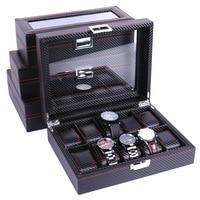 High Carbon Fiber 5 6 10 12 Grid Watch Box Watch Display Storage Box Bracelet Watch Display Slots Case holder Storage Container