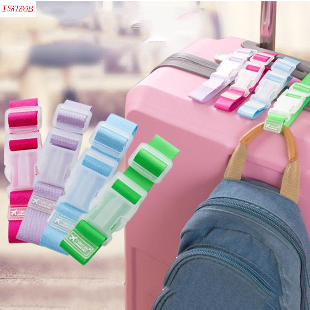 Portable Baggage Belt Hook Clip Handsfree Easy Travelling Hold Luggage Belt Straps Fixed Clip Fasteners Adjustable Candy Color