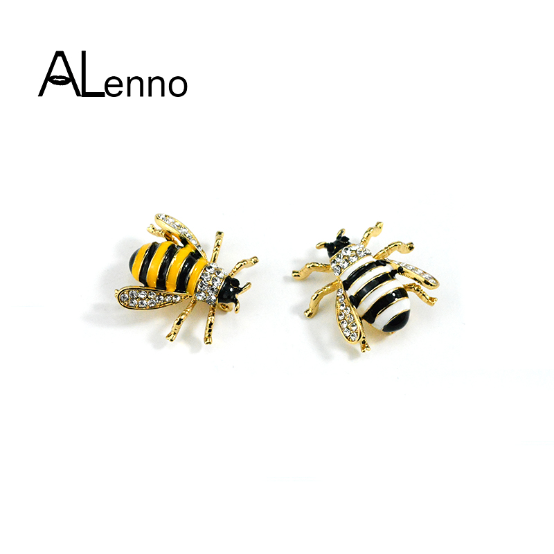 ALenno Cute Enamel Bee Insect Brooches Pins Women Men batch pins Fashion Jewelry Rhinestones For Clothes Souvenirs And Gifts